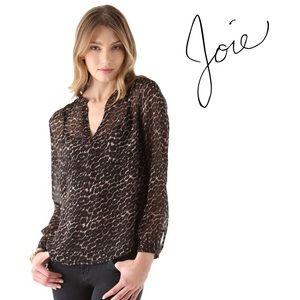 Joie Adana Silk Leopard Blouse in Warm Chestnut